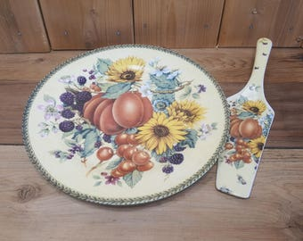 Vintage Country Decor Cake Pie Plate and Knife Server Set Birthday Garden Tea Party Farmhouse Chic Serving Platter Sunflowers and Fruits