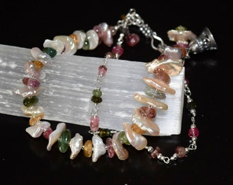 Tourmaline and Heishi Freshwater Pearl Bracelet~ Healing Energy Bracelets~ Woman's Day Gift~