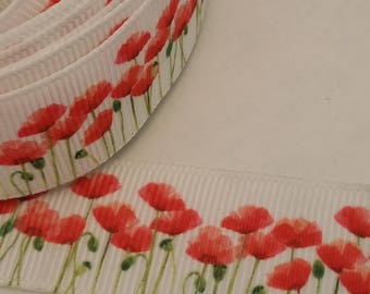 "1"" (25mm) Red Poppy Grosgrain Ribbon, almost 5 yards of ribbon, California Poppies. Hair bow ribbon."