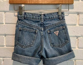 Vintage Kid's Baby Guess Sz 5 Cuffed Cutoff Jean Shorts