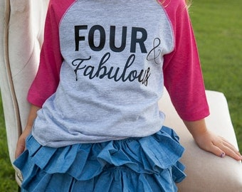 4th birthday baseball raglan outfit, fourth baseball outfit, four year old girl shirt and denim tutu