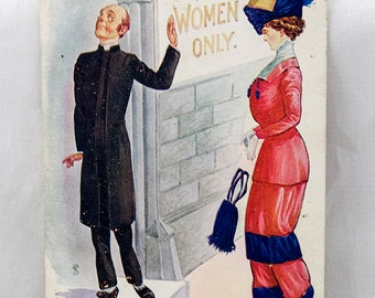 "Rare Original Edwardian 1910s Harem Pants Political Postcard, from the ""Harem"" series, No 850"