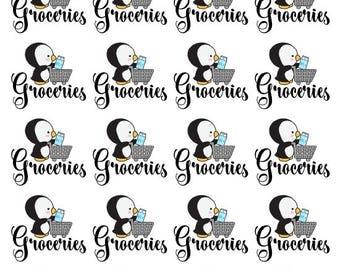 Penguin Groceries Stickers - All Planner Sizes | Erin Condren | Happy Planner | Recollections | Passion Planner | Plum Paper Planner | Bujo