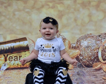 Baby's First New Years Outfit | New Year Baby Girl Outfit | Baby Girl Clothes | Princess of 2018 | Take Home Outfit | Baby Shower Gift
