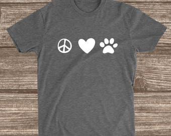 Peace Love & Dogs Heather Grey Shirt - Dog Mom Shirts - All The Dogs Shirt