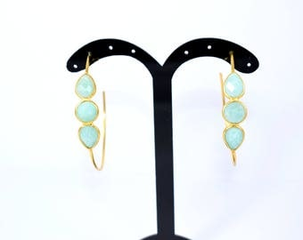 Amezonite Hoop Earrings  , gold plating earring , gemstone earring , hoop earring , anniversary gift ,green color earring  ,50% off