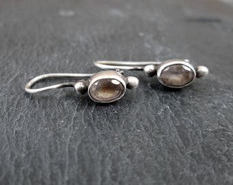 Sterling Silver Mystery Stone Earrings - Vintage