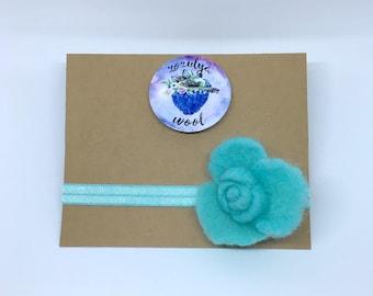 Blue Flower Headband,Handmade Blue Flower,Gift,Felted Flower,Hand Felted Headband,Wool Headband,Wool Accessories,Headband,Blue Headband,Wool