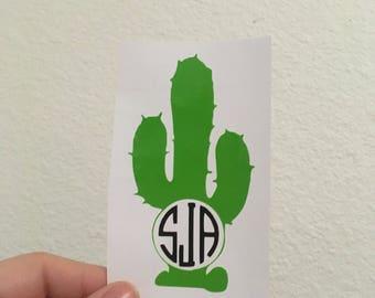 Custom Monogram Cactus Sticker