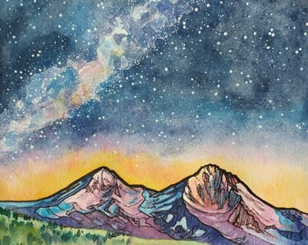 Three Sisters Wilderness,Art print,digital print,mountain art,night sky,galaxy,milky way,sunrise,Bend,Oregon,Pacific Northwest,wall art,sale