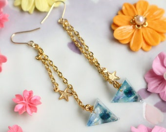 Diving Space In Triangle Earrings, Gold edition, blue, green, Chandelier Earrings, UV RESIN