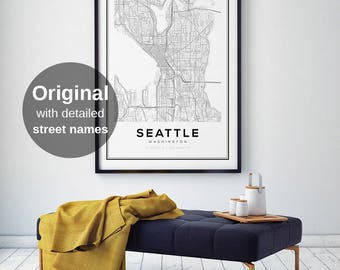 Seattle Map Print, Washington City Maps, City Map Prints, Wall Art, Seattle Washington, US City Maps, Black and White maps, Seattle City Map