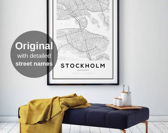 Stockholm Map Etsy - Sweden map printable
