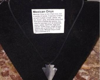 Mexican Onyx arrowhead necklace