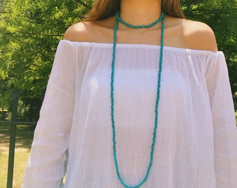 Turquoise Beaded X Long Wrap