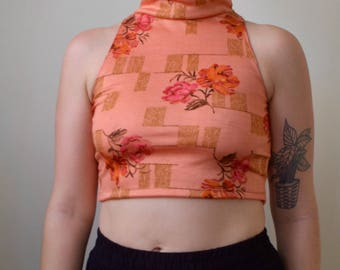 Rose colored floral/linear print turtleneck- S/M