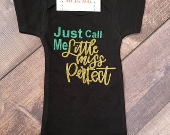 Baby Girls Clothes, Just Call Me Little Miss Perfect Bodysuit, Infant Newborn