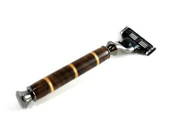 Shaving Razor, Gillette Mach 3 Venus Walnut Handle, Men's Gift, Gifts for Him, 5th Anniversary for Men