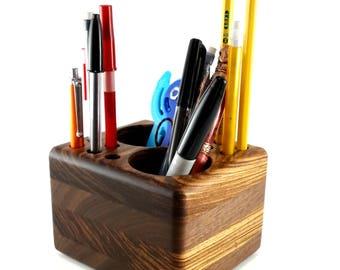 Pencil Cup For Desk   Walnut And Zebrawood Desk Pen Organizer, Office Caddy  Desk Decor