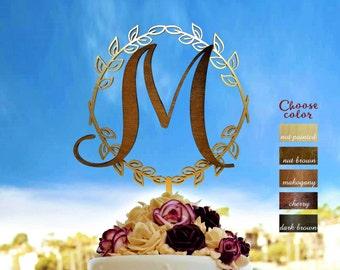Letter m cake topper, wedding cake topper, wreath cake topper, monogram cake topper, letter cake topper wedding, cake topper m, sign, CT#263