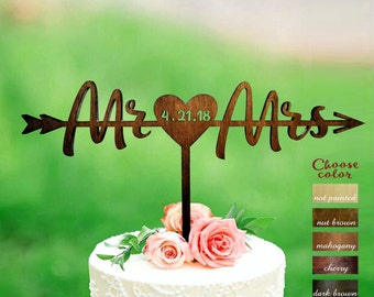 Wedding cake topper, Mr and Mrs Cake Topper date, Cake Toppers for Wedding Mr and Mrs, Surname Cake Topper wood, Mr and Mrs, Arrow, CT#266