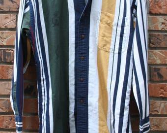 Vintage Chaps Ralph Lauren 90's Multi Colored Striped Dress Shirt Men's Small