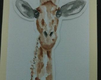 Watercolor giraffe card