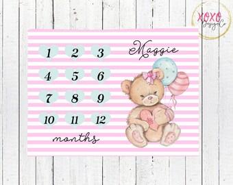 Monthly Milestone Blanket / Teddy Bear Baby Blanket / Pink Blanket / Pink Nursery Decor / Teddy Bear Baby Shower / Teddy Bear Nursery Decor