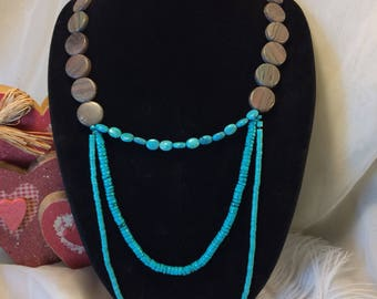 Layered Turquoise Necklace, Genuine Turquoise Jewelry, Gift for her, Women's Boho necklace, Sterling Silver, I love you, gemstone necklace