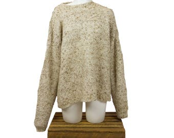 Beige with Specs of Brown Women's Knit Sweater L-XL