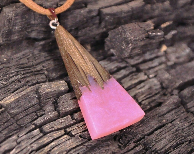 Geometric wood necklace Wenge wooden triangle 5th anniversary gift for wife Women exotic fashion jewelry pendant Pink epoxy resin necklace