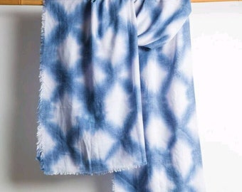 Exclusive Cotton Gauze Artistic Shibori Shawl, 73cm x 193cm,  Handmade