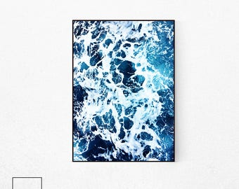Ocean Waves Poster, Sea Poster, Dark Blue Sea Print, Sea Waves Poster, Beach Print, Beach Wall Art, Scandinavian Poster, Nordic Photography