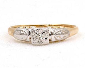14K Yellow Gold Diamond Engagement Ring, Size 6 (1396)