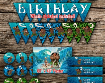 Maui Birthday Party Pack Bundle Disney Moana Vaiana Birthday Boy Decor Kit Instant Download Printable DIY Poster Banner Cupcake Toppers