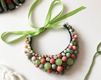 Boho necklace, glass necklace, lime green necklace, romantic necklace, bohemian necklace, olive green necklace, green jewelry, emerald green