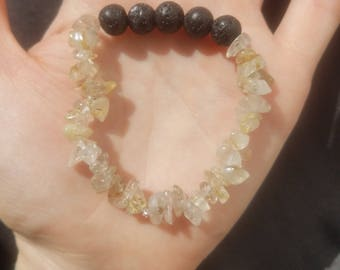 Rutilated Quartz essential oil diffuser bracelet, gemstone bracelet