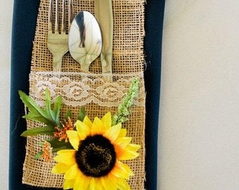 Burlap Silverware Setting - Sunflower Silverware Setting - Rustic Wedding Decor