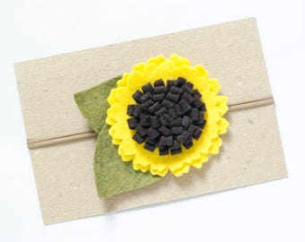 Felt Flower Headband, Sunflower Baby Headband, Baby Girl Headband, Wool Blend Felt Yellow Sunflower, Baby Accessories, Floral Baby Headband