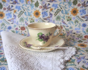 Vintage Ridgway England Coffee Cup Demitasse Cup and Saucer Ivory China Violets 50s