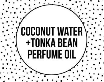 COCONUT + TONKA PERFUME - Coconut Water Perfume Oil - Tonka Bean - Roller Bottle - Roll On Perfume - Vegan Gift - Unisex Perfume Gift