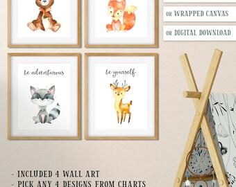 Watercolor Woodland Baby Nursery Decor, Forest Animal Nursery Prints, Baby Bear Fox Raccoon Deer, Watercolor Animal Art, Animals Nursery