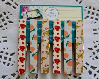 6 wooden clothes peg magnet set, fruit theme with strawberries, bananas and peaches, house-warming gift set