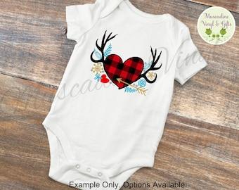 Heart Antler Infant Bodysuit Short Sleeve OR Long Sleeve , Valentine's Day, Heart Bodysuit, Buffalo Plaid, Hunting, Antlers