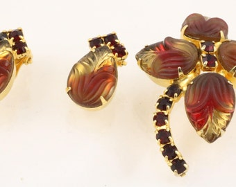 Fruit Salad Art Glass Leaves Buds demi-parure - brooch and earrings. Red and yellow moulded glass and rich red chatons