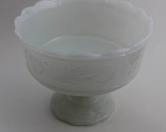 E O Brody Milk Glass Pedestal Dish