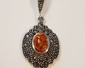 Exceptional Victorian / Art Nouveau / Art Deco Style Sterling Silver Sparkly Marcasite and Genuine Baltic Amber Cabochon Necklace