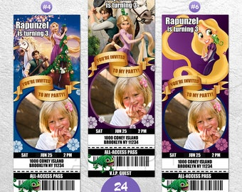 Rapunzel Invitation with Photo, Rapunzel Invite, Rapunzel Birthday Invitation, Rapunzel Party Invitation, Rapunzel VIP Pass, Ticket Invites
