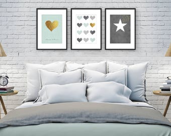 bedroom wall pictures. Minimalist wall art  Romantic poster Bedroom Wall set Master bedroom Art Etsy