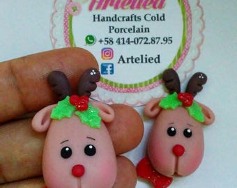 christmas clay charms - ginger bread clay charms - reindeer bow center - necklace